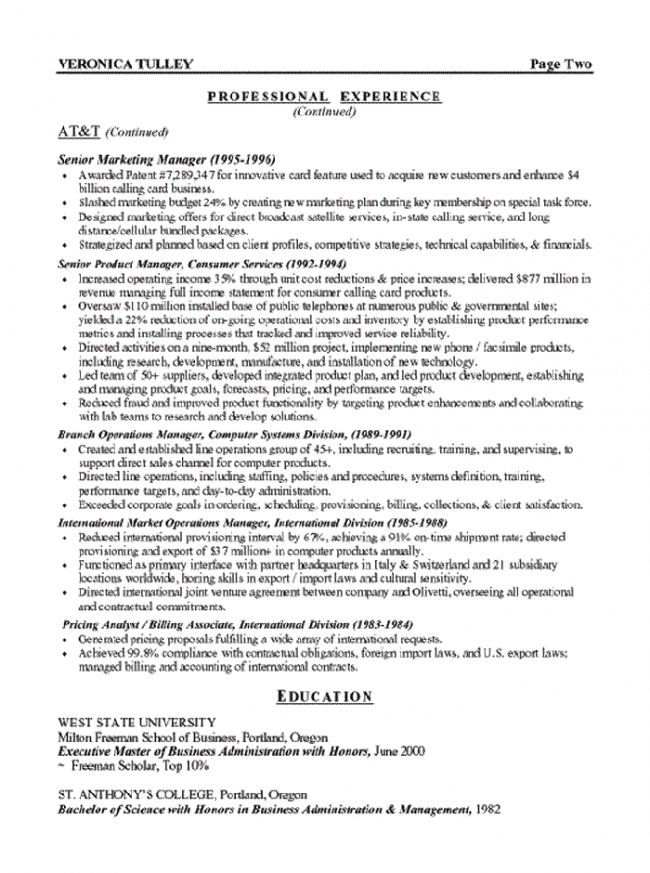 Marketing Executive Resume Page 2  Marketing Executive Resume
