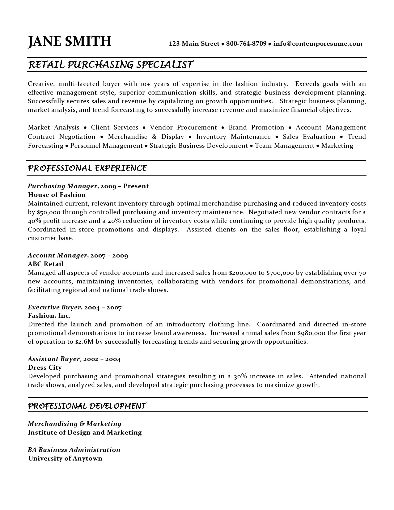 text version of the purchasing specialist