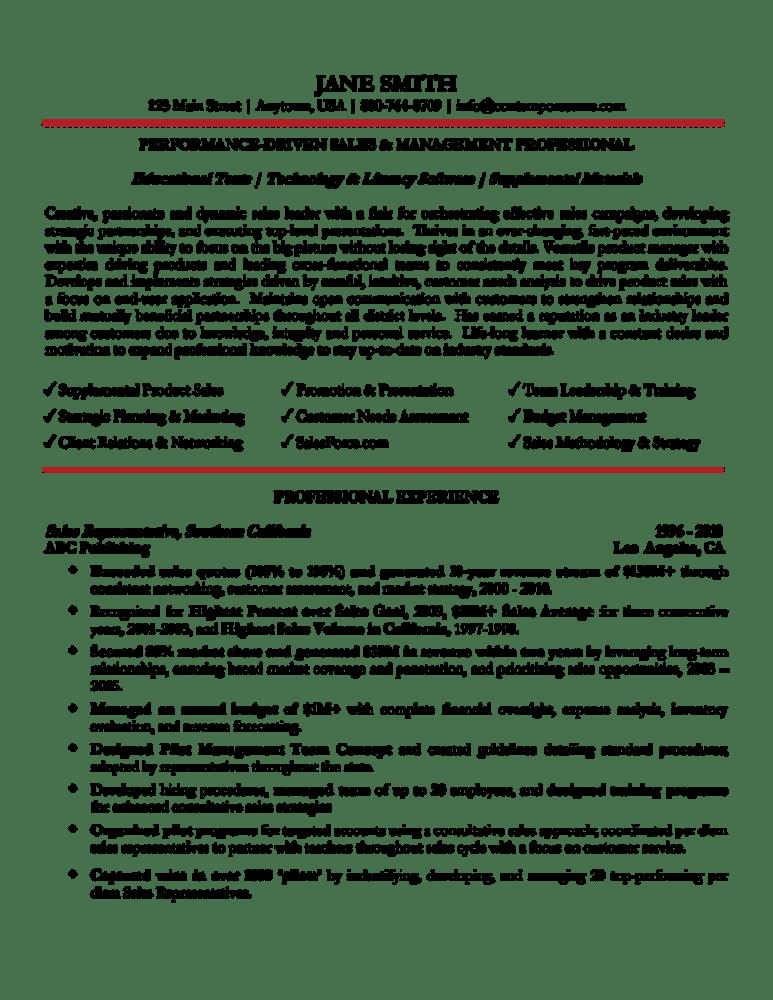 sales management resume sample 1