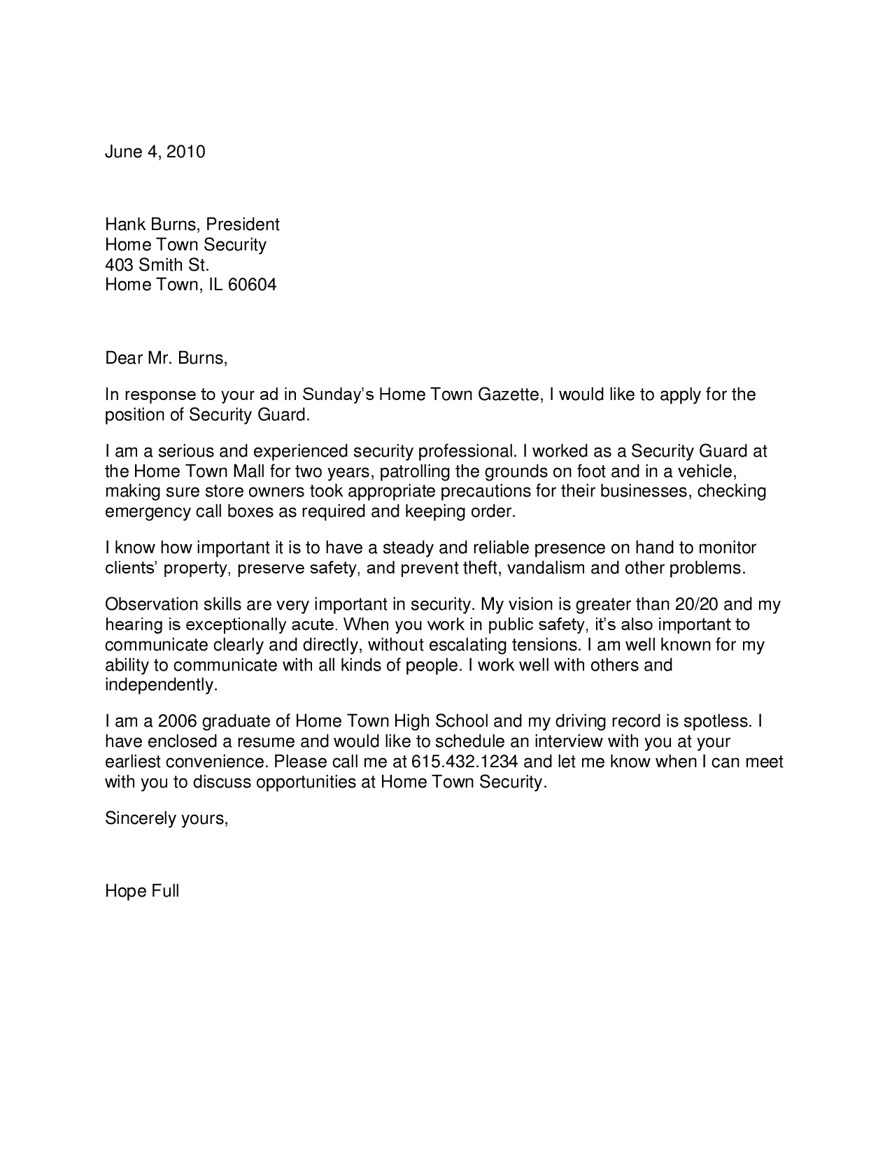 Cover Letter For Security Guard With No Experience | lv.crelegant.com