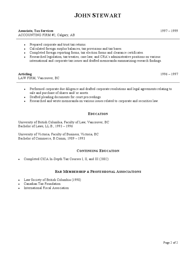 Tax Resume Sample Page 2