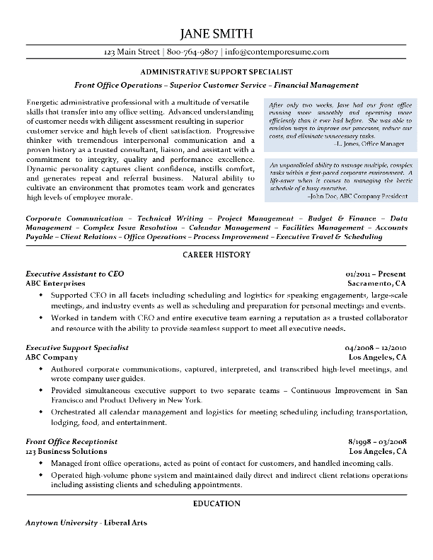 Administrative Support Specialist Resume