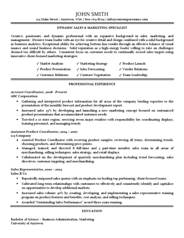 sales marketing specialist resume traditional standard format - Standard Format Resume