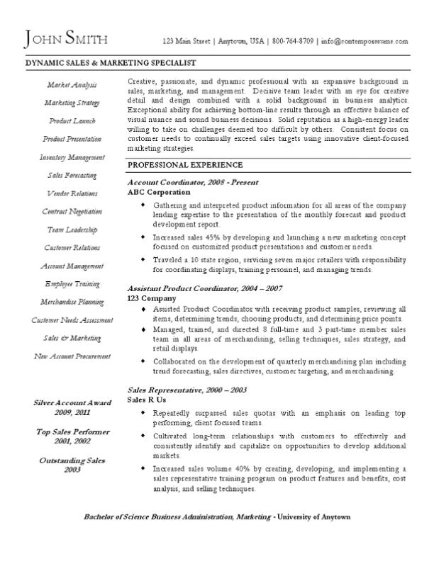 Sales & Marketing Specialist Resume Example (Varied Arrangement)