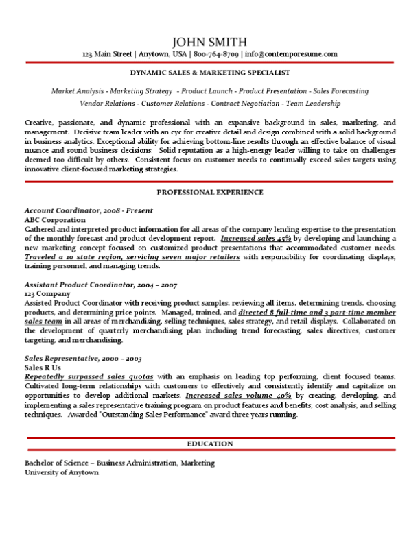 sales  u0026 marketing specialist resume  traditional variation with subtle use of color  no bullet
