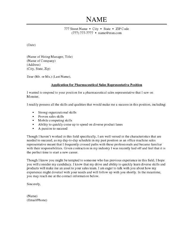 text version of the pharmaceutical sales representative cover letter