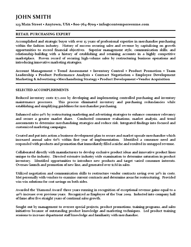 Retail Buyer Resume