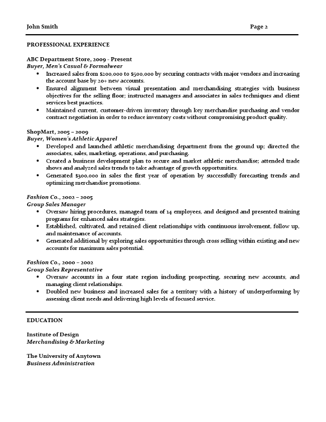 Advertising buyer resume