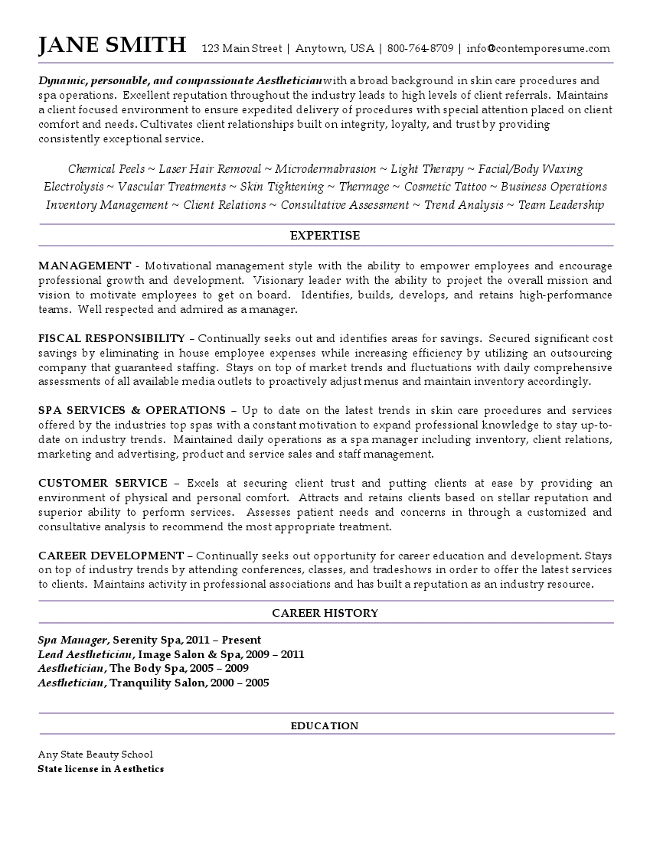 Aesthetician Resume