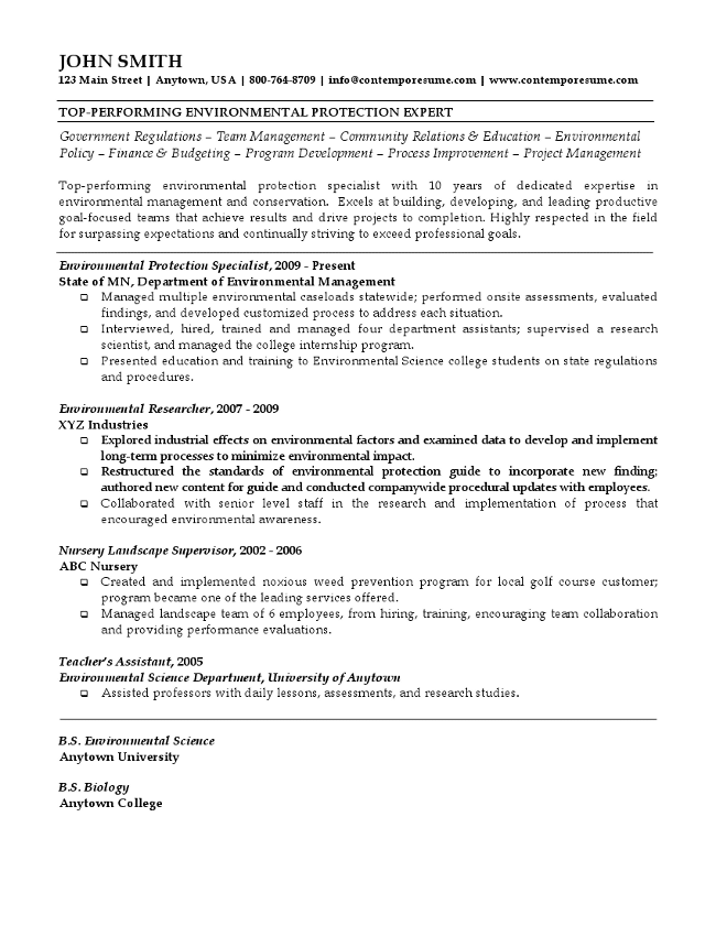 environmental protection expert resume - Resume Environmental Science