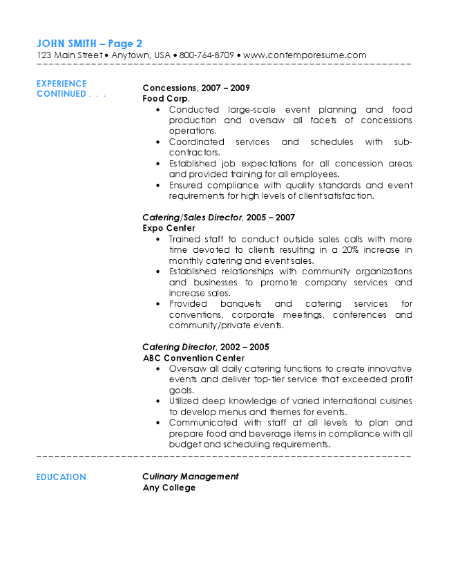 Catering Resume. catering resume examples food and beverage resumes ...
