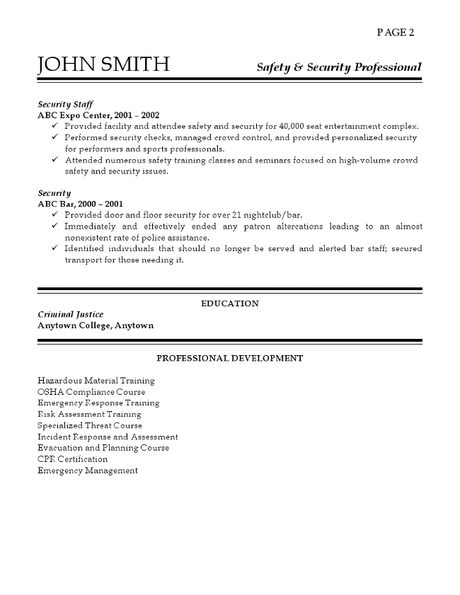 Safety and Security Professional Resume Page 2