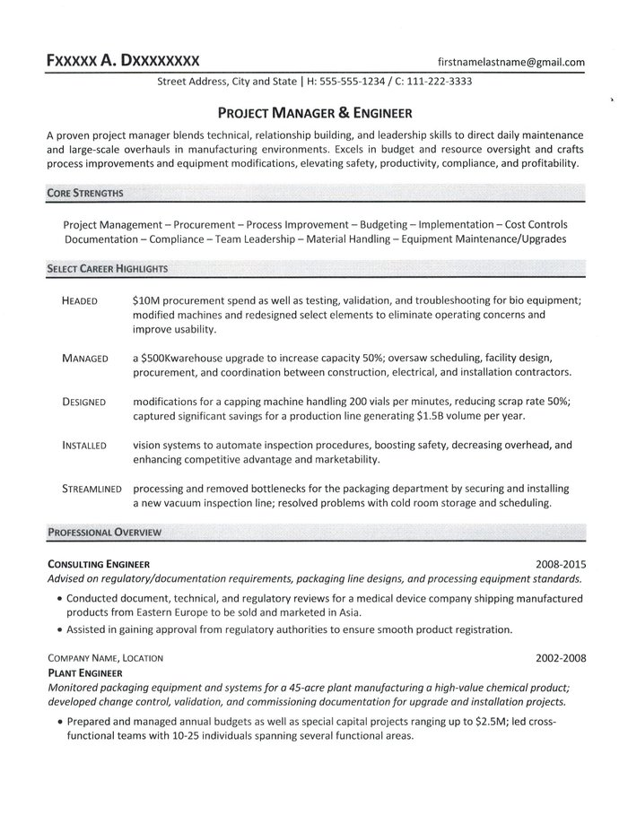 resume sample for project managers
