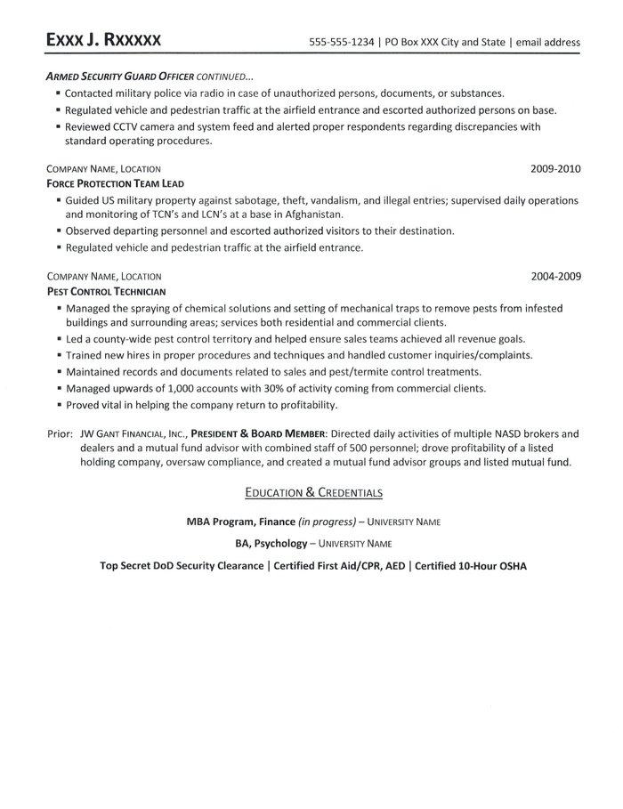 security resume
