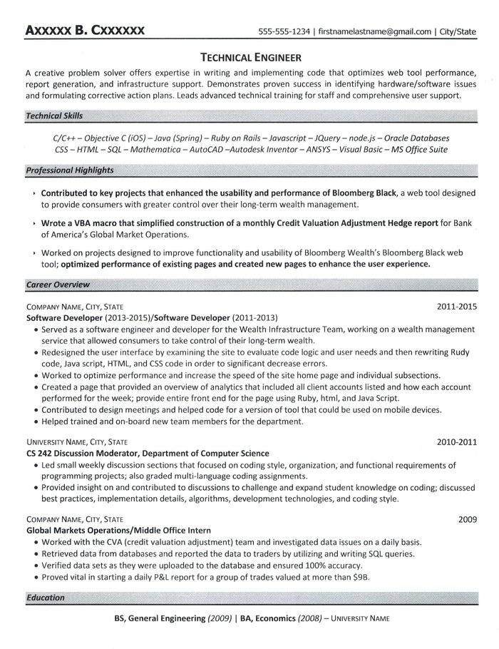 Technical Engineer Resume