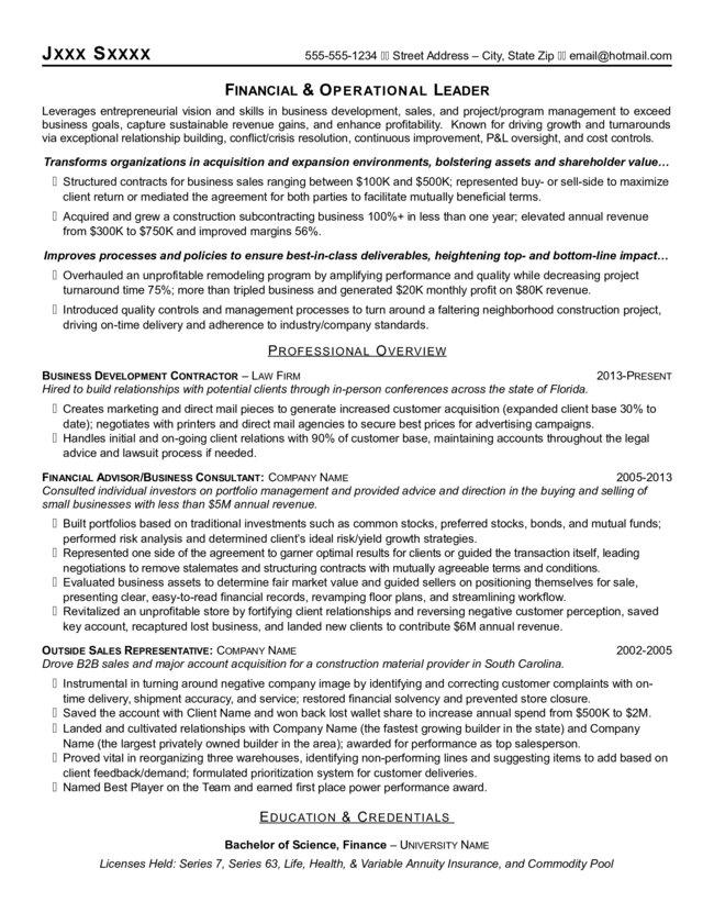 Financial Amp Operational Leader Resume