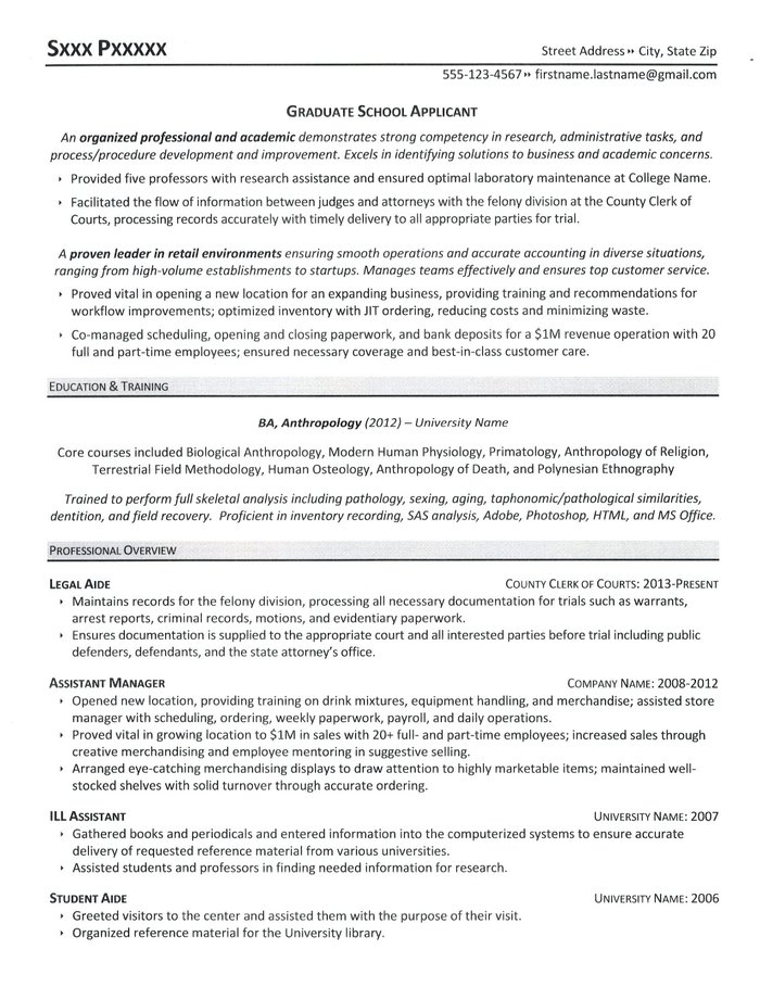 Doctoral application resume
