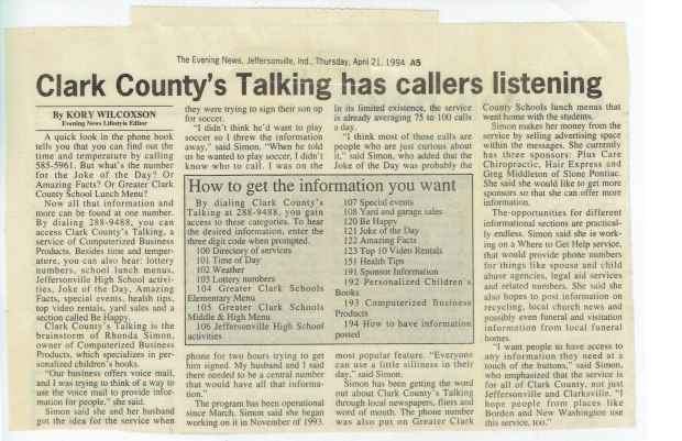 Clark County's Talking & Working from Home 1994