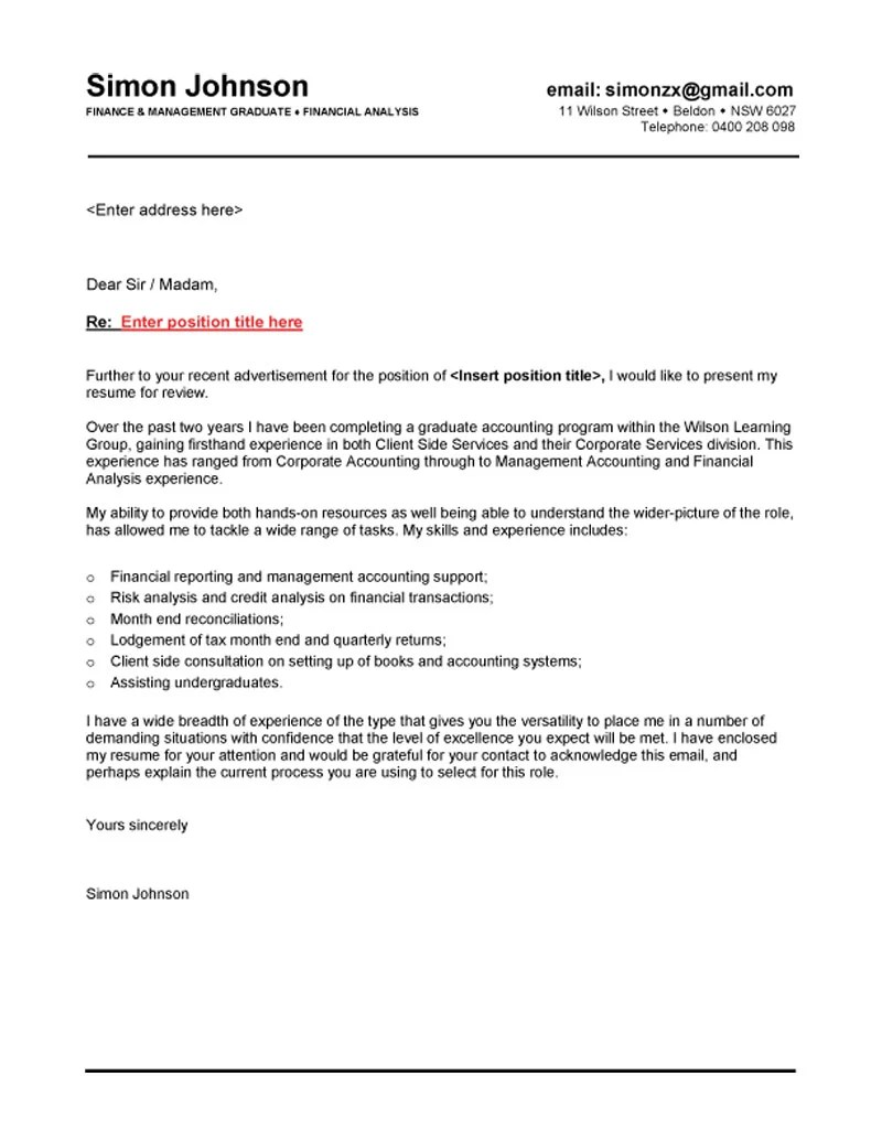 New graduate cover letter engineering