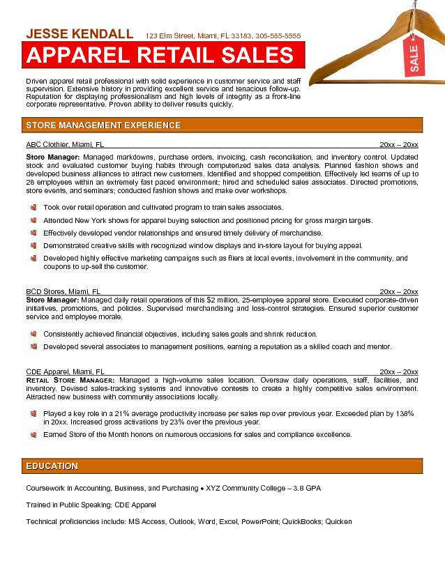 Sample Resume Sales Manager Position. Retail Manager Cv Template