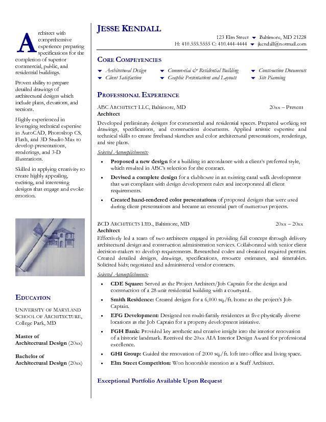 architect resume format resume format