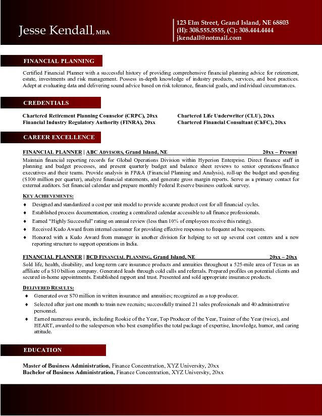 personal financial advisor sample resume] financial advisor, Presentation templates
