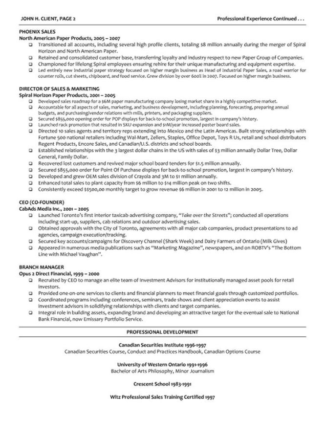 Executive Managing Director Resume