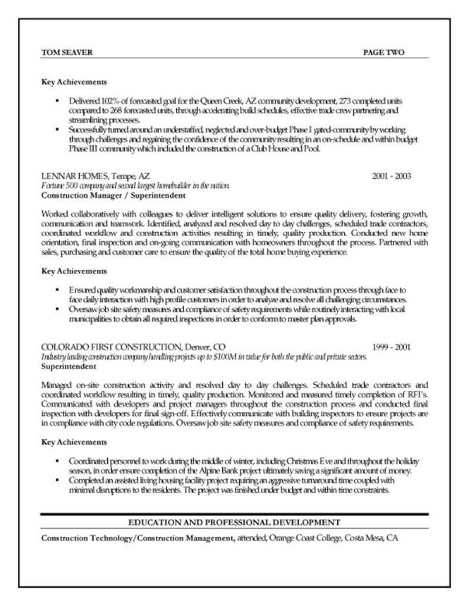 Construction Project Manager Resume - Resume Sample