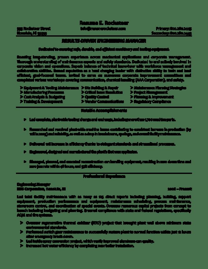 workbloom media 1731 engineering manager resum - Engineering Manager Resume