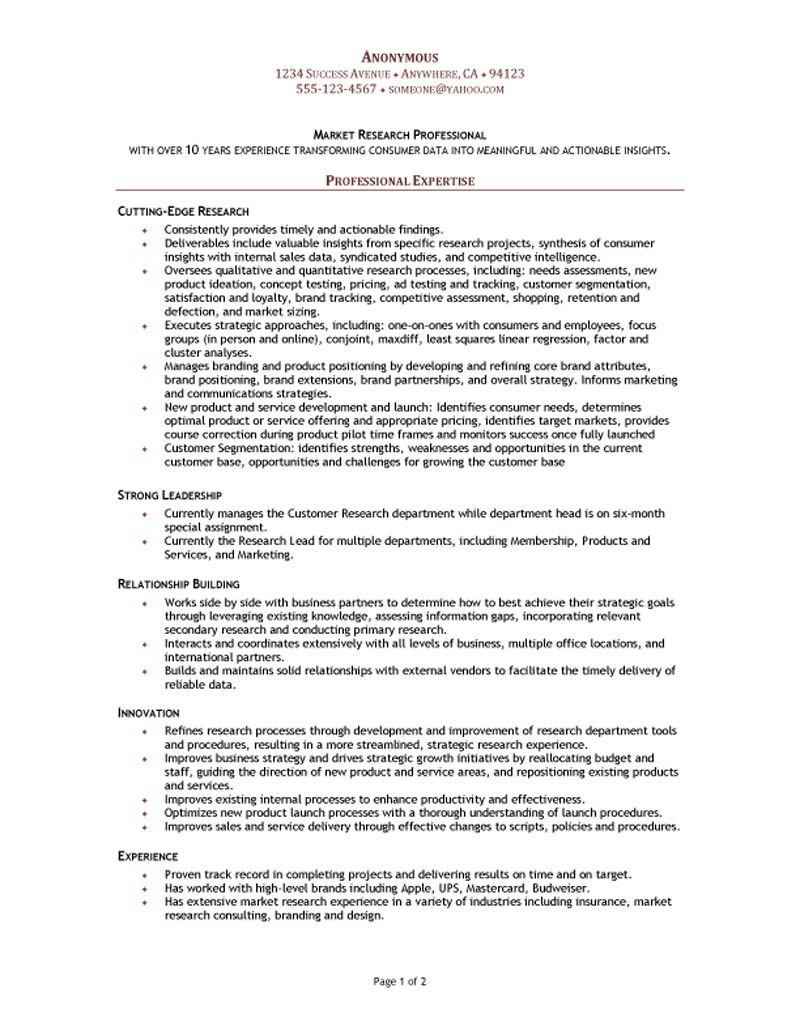 market research manager functional resume