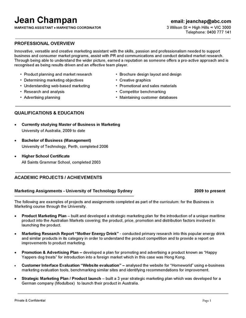 marketing coordinator assistant resume