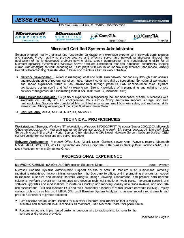 microsoft certified systems administrator resume