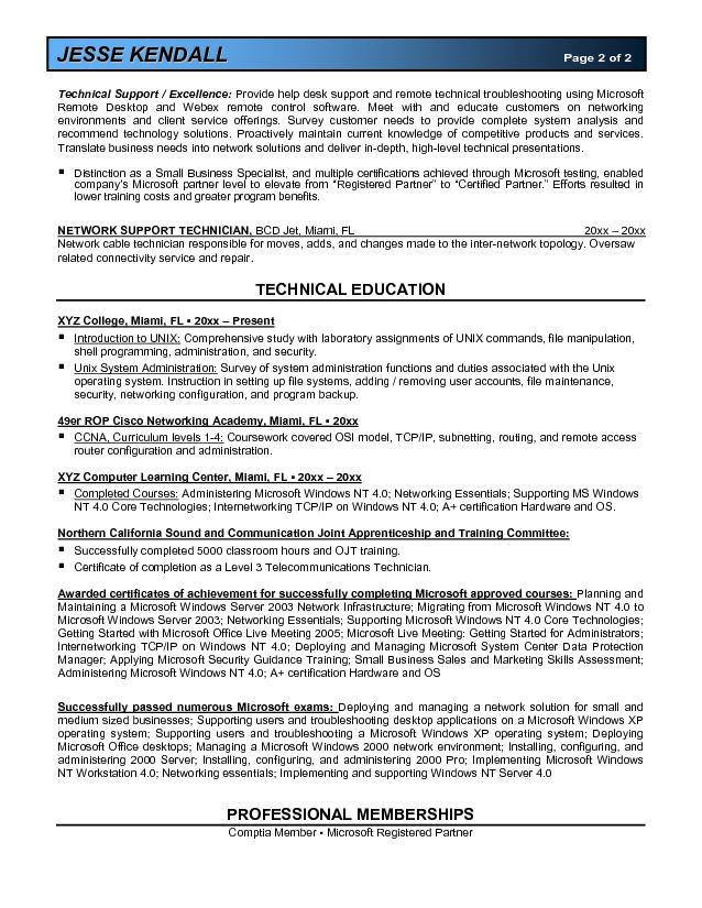 microsoft certified systems administrator resume example