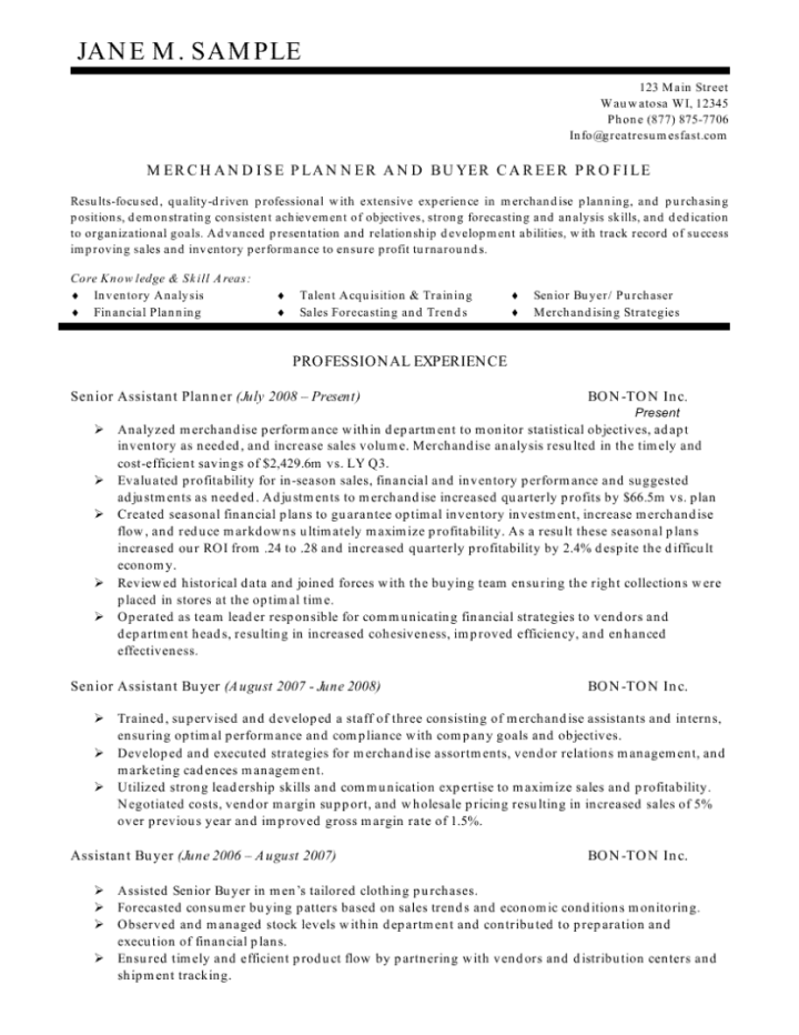 Example Purchasing Agent Resume Free Sample Buyer Resume Sample