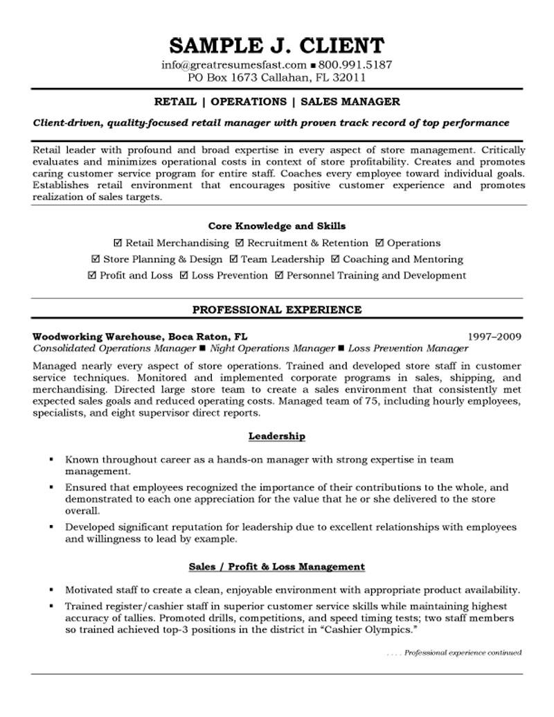 retail operations and sales manager resume manager resume format - Manager Resume Format