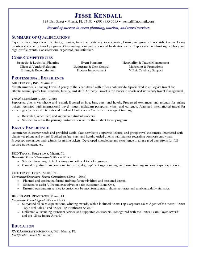 Resume Travel Agent Examples Sample