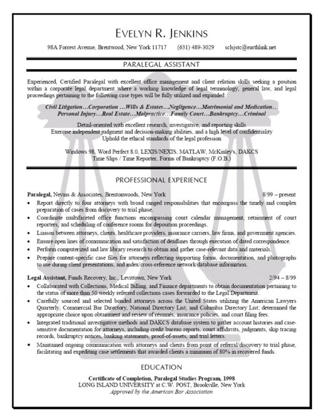 resume - Corporate Paralegal Resume