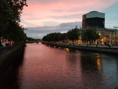 The sun sets over Dublin