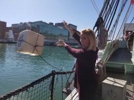 Throwing tea in Boston