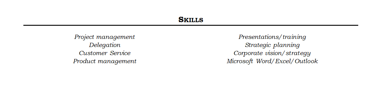 example of a resume skills section