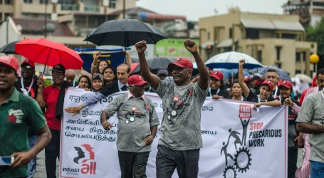IndustriALL affiliates protest against precarious work in Sri Lanka