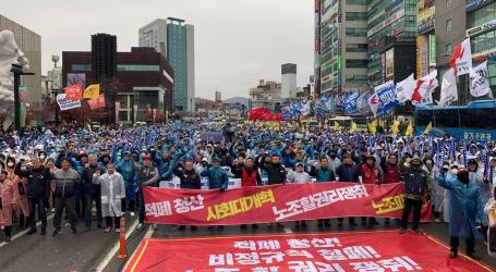 Korean workers down tools in national strike for Chaebol reform