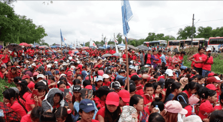 Mass protest in Myanmar calling for enforced labour law