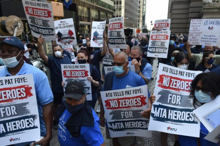 "ATU NYC Locals Rally Outside MTA HQ: ""No Zeroes for MTA Heroes"""