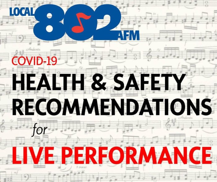 AFM Local 802 Health & Safety Recommendations for Live Performance