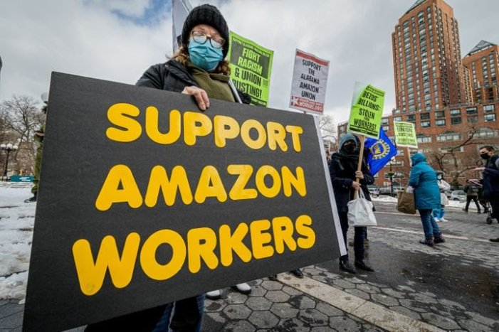 Amazon Workers' Fight To Unionize Draws Help From Around The World