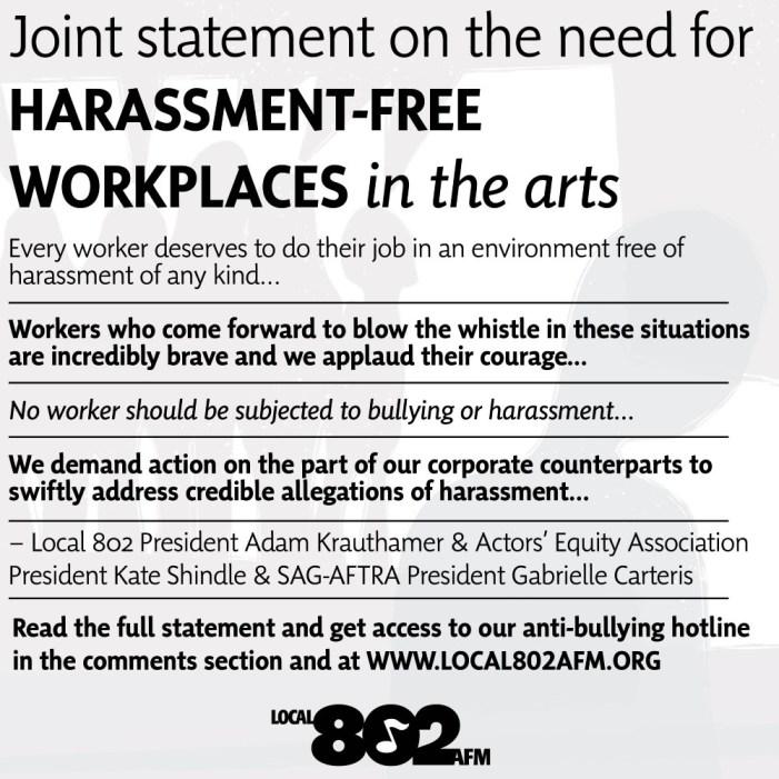 Theatre Unions Condemn 'Aggressive Harassing Behavior'