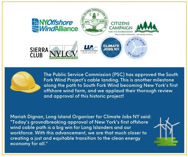 Climate Jobs New York Update: We Support the Public Service Commission's Approval of the South Fork Wind Cable Landing!