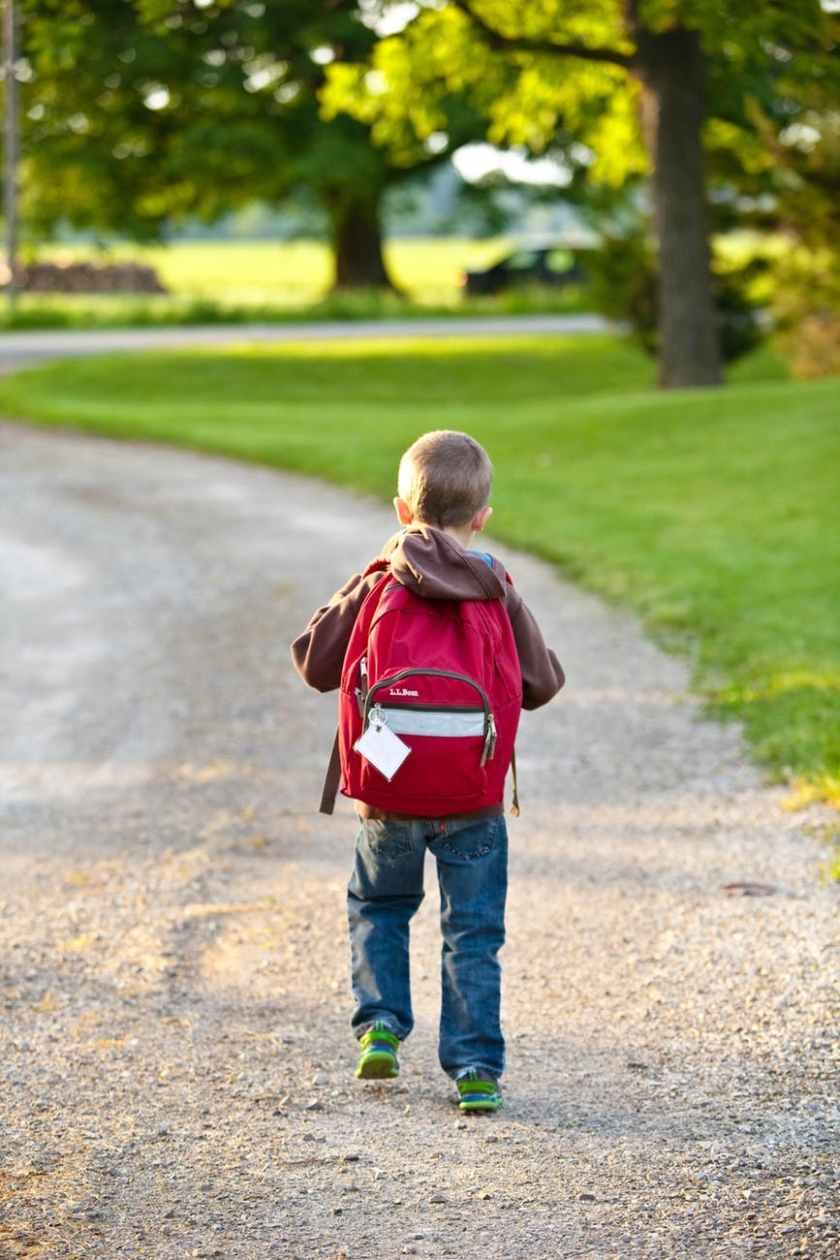 Child walking to school.