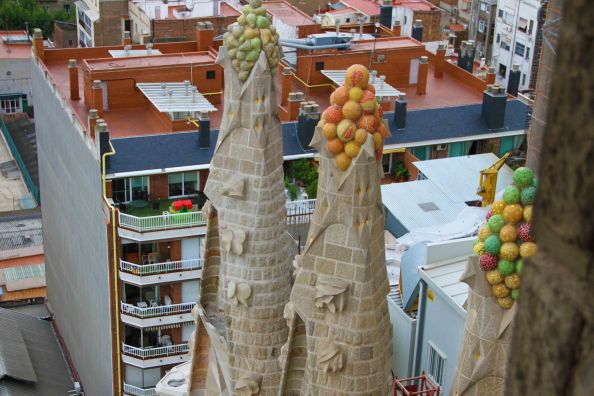 Close-ups of the top of some of the shorter spires